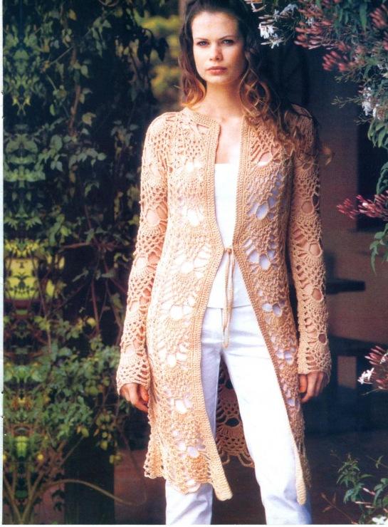 Женское летнее пальто вязаное крючком с описанием.Размер 50-52. . Материал