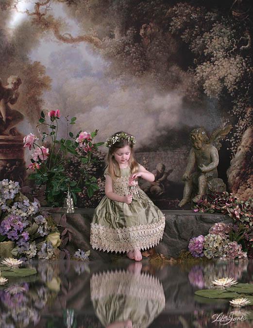 + Увеличить - Схема для вышивки крестом: Девочка у пруда.