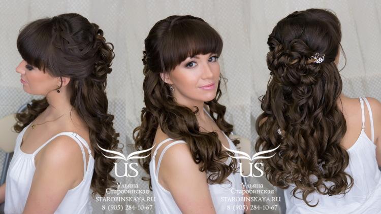 Прически на длинные волосы с челкой фото на каждый день своими руками