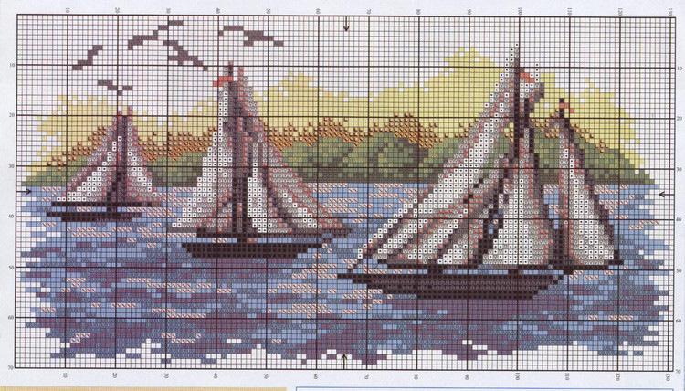 Вышивка крестом морские пейзажи и схемы к ним 682
