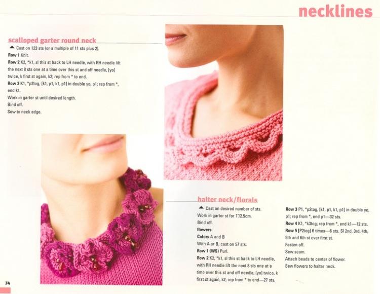 Отделка красивой горловины в вязание